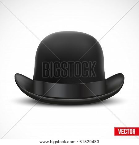 Black bowler hat on a white background vector