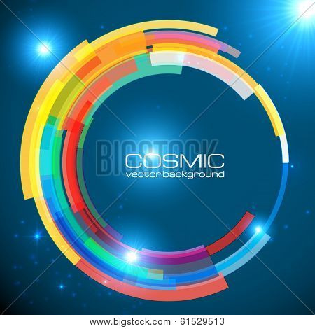 Abstract cosmic shining colorful circle frame