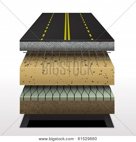 section of asphalt road