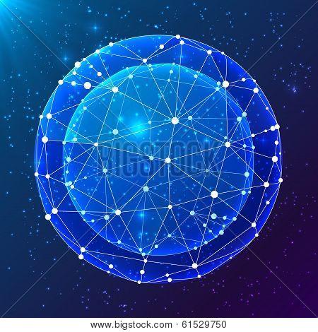 Blue abstract cosmic vector ball