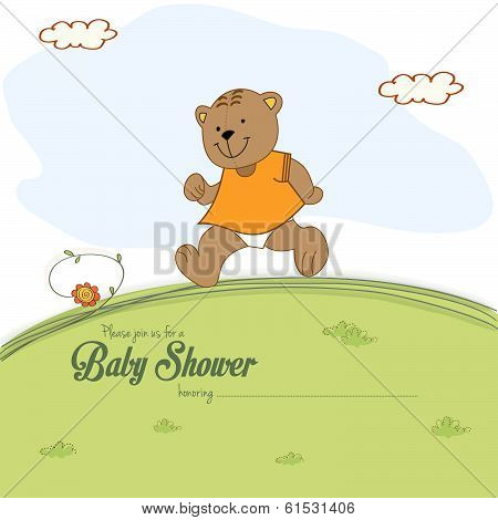 Baby Shower Card With Teddy Bear Chasing Rushed To Event