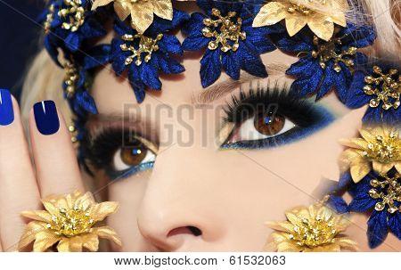 Blue makeup.