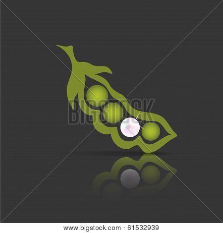 Vector pea pod isolated on a darkbackground