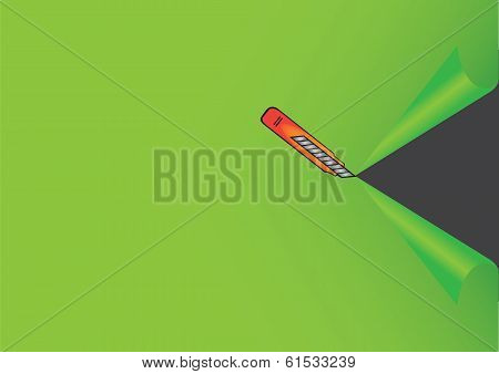 Illustration Of Penknife Cutting Green Background