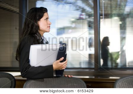 Young Hispanic businesswoman in boardroom
