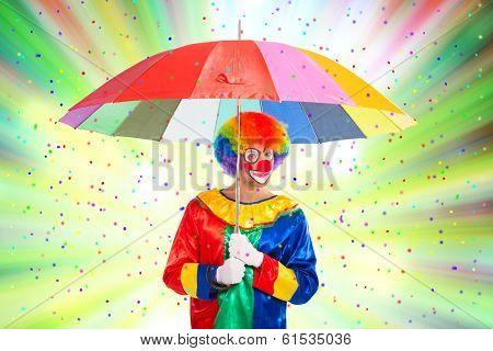 Clown enjoying a confetti rain