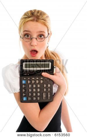 Surprised Girl With Calculator
