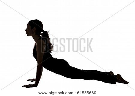 Woman In Upward Facing Dog Pose In Yoga, Silhouette View