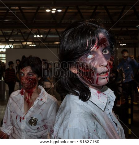 Zombie Cosplayers At Cartoomics 2014 In Milan, Italy