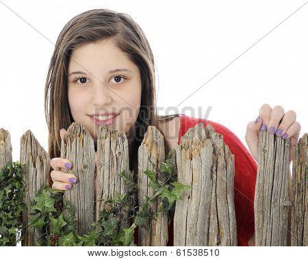 Close-up of a beautiful young teen looking over the top of a rustic wood fence.  On a white background.