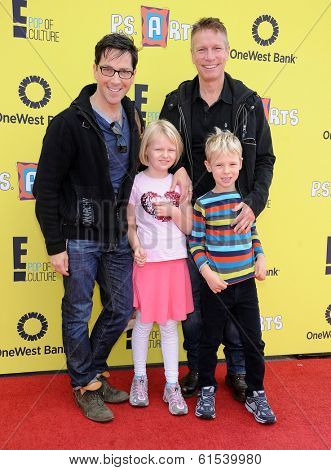 LOS ANGELES - NOV 17:  Dan Bucatinsky, Don Roos, Jonah Bucatinsky and Eliza Bucatinsky arrives to the P.S. Arts Express Yourself 2013  on November 17, 2013 in Santa Monica, CA