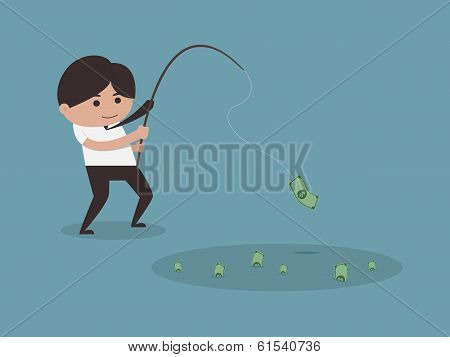 Businessman Fishing Money Concept