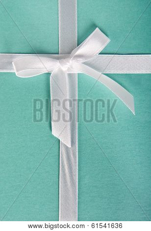 Gift Box Turquoise With White Satin Ribbon