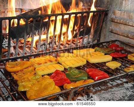 Tasty Yellow And Red Peppers Grilled In A Fireplace