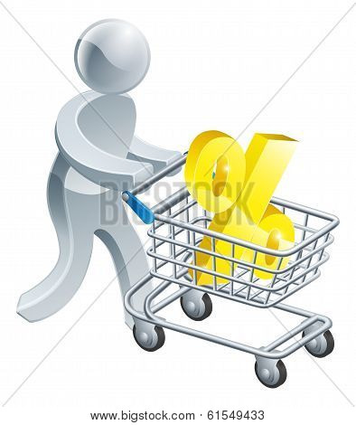 Person Pushing Trolley With Percentage Sign