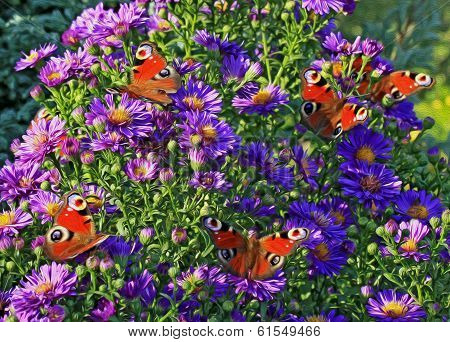 Oil Painting Stylized Photo Of Group Of Butterflies
