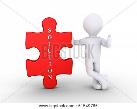 Person With A Puzzle Piece As Solution