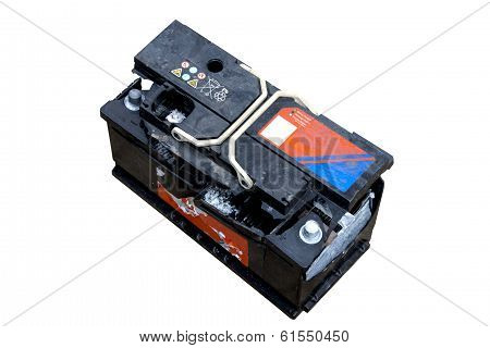 Destroyed Vehicle Battery After Overcharging And Internal Explosion