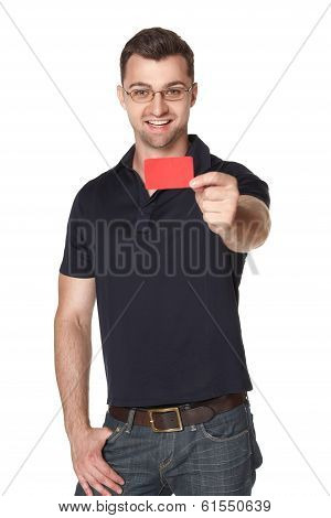 Male in eyeglasses giving you red credit card