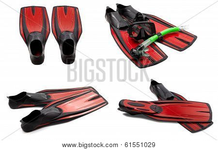 Set Of Red Swim Fins, Mask, Snorkel For Diving With Water Drops
