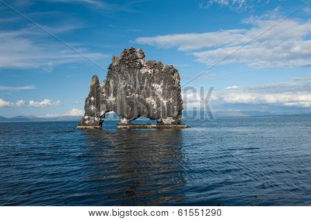 Hvitserkur is a spectacular rock in the sea on the Northern coast of Iceland. Legends say it is a petrified troll.