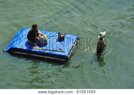 Rafting On Big Flood In Bangkok