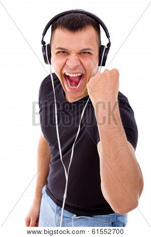 Hadsome Man With Headphones Showing Success