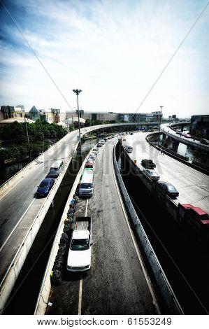 Express Way During Flood In Bangkok