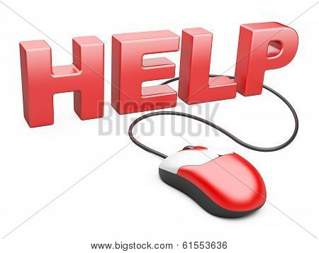 Computer Mouse Connected To The Word Help - Internet Concept