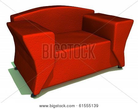 red sofa on white back