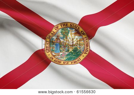 Series Of Ruffled Flags. State Of Florida.