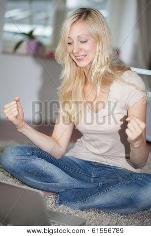 Blonde Girl Rejoicing