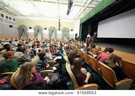 MOSCOW, RUSSIA - NOV 21, 2013: Scientific and Practical Conference Animation as cultural phenomenon in Russian State University of Cinematography.