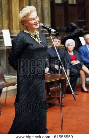 MOSCOW, RUSSIA - NOV 18, 2013: Elena Malysheva (Russian doctor and TV presenter) at ceremony on Gold Medal of Lev Nikolayev in Pushkin Museum.