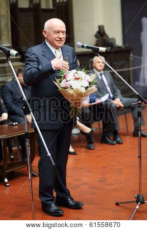 MOSCOW, RUSSIA - NOV 18, 2013: Leo Bokeria (Academician of RAMN, RAN, Director of Scientific Center of Cardiovascular Surgery) at ceremony on Gold Medal of Lev Nikolayev in Pushkin Museum.