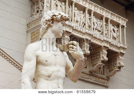MOSCOW, RUSSIA - NOV 18, 2013: Sculpture copy of Michelangelo David at the Pushkin Museum.