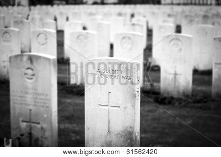 A Soldier Great War Cemetery Flanders Fields Belgium