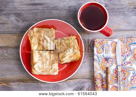Borek Served With A Cup Of Tea