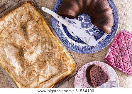 Fresh Crispy Borek Pastry And Chocolate Cake