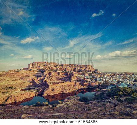 Mehrangarh Fort and Padamsar Talab and Ranisar Talab lakes , Jodhpur, Rajasthan, India with grunge texture overlaid