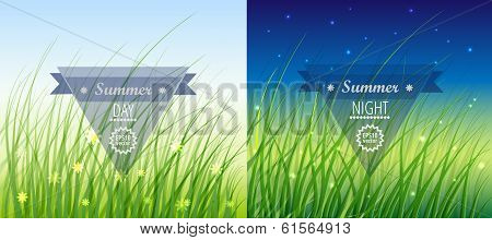 Vector Background with Grass. Day and Night.