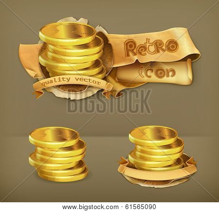 Coins, retro vector icon