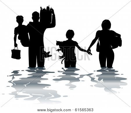 Illustration of a family carrying belongings through a flood