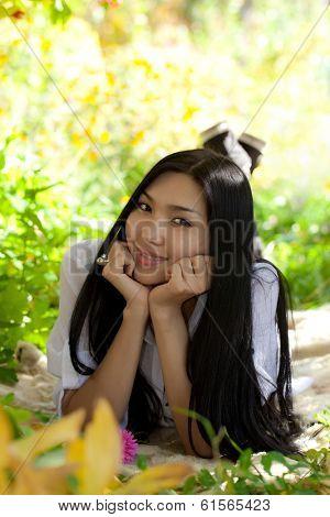 Girl resting in the garden