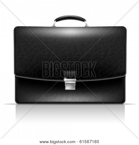 Realistic vector image of elegance leather black briefcase