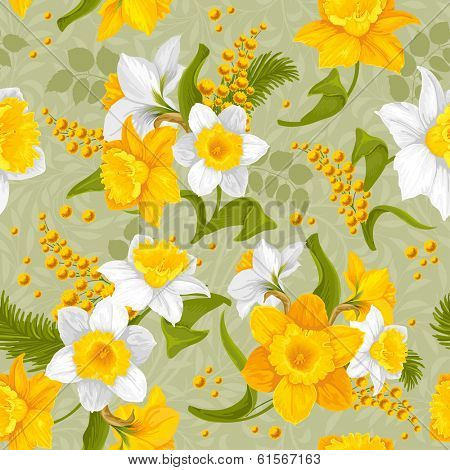 Retro flower seamless pattern - daffodils. Vector.