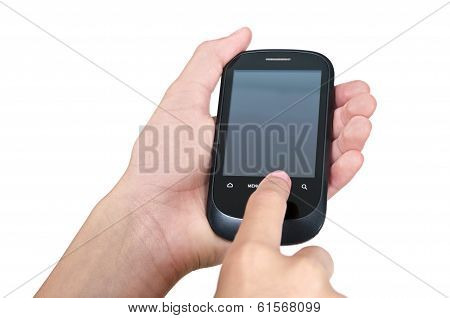 Touching Mobile Phone Screen With Clipping Paths