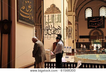 Muslims Who Pray At The Grand Mosque In Bursa