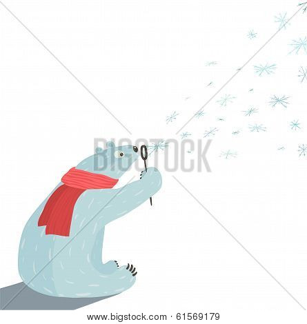 Polar Bear Blowing Snowflakes