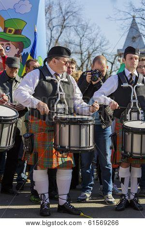 Irish Drum Band On St. Patrick's Day
